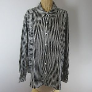 Foxcroft Womens 20W Black White Wrinkle Free Shirt